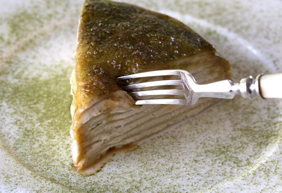Crepe Brulee with green tea crepes, raspberry buttermilk and brown sugar glaze - sounds amazing.