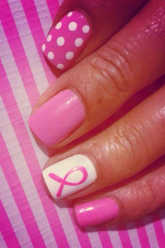 Doing this for breast cancer awareness month, except for the polkadot nail