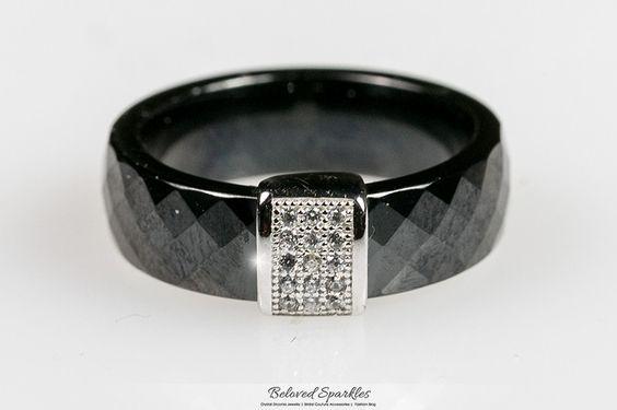 Nuvia Black Ceramic Cocktail  Ring   .2 Carat   Cubic Zirconia    Sterling Silver