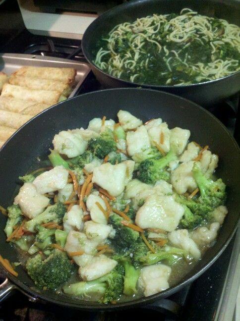Stirfried swai w/broccoli, collards noodle soup, poek veggie eggrolls