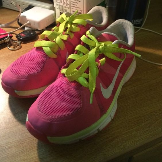Pink Nike Free 5.0 Super cute, slightly worn Nike sneakers! Small tear on both shoe as shown in last picture, not noticeable when wearing. Bought from another posher, absolutely love just a little too small! Love to trade☺️ Nike Shoes