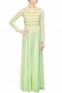 Mint green embroidered floor length jacket