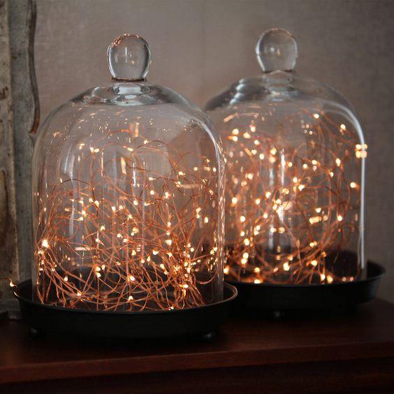 Copper Globe String Lights : 100ft 300 LED Warm White Copper Fairy Lights with Timer Copper, Light string and Glasses