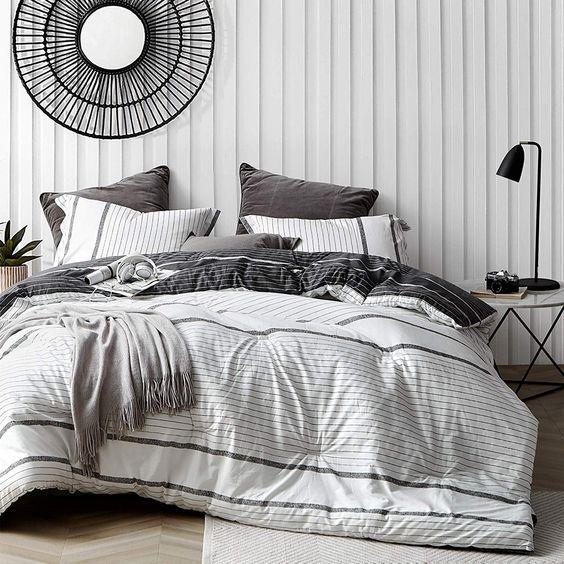 Kappel Black And White Stripes Comforter 100 Cotton King