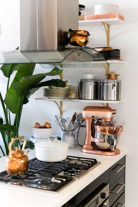 Copper, Brooklyn apartment and Copper kitchenaid mixer on Pinterest