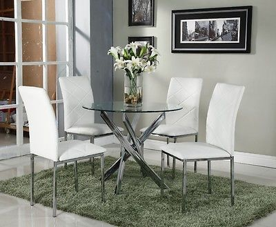 Clear Glass Dining Table Set Chrome And With 4 White Faux Leather Chairs Le