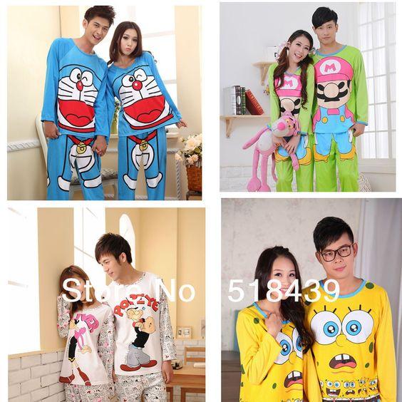 New Spring /Autumn Couple Sleepwear Cotton Pajamas Set For Women ...