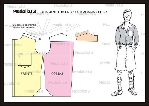 Modelagem Camisa masculina. Fonte: ModelistA: Sewing, Men'S Shirt, Patrones Caballero, Shirt