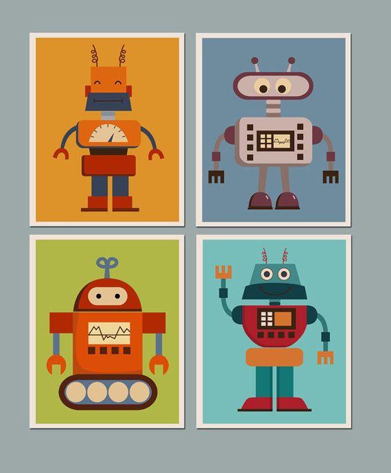 Nursery art robots and kid wall art on pinterest for Robot baby room decor