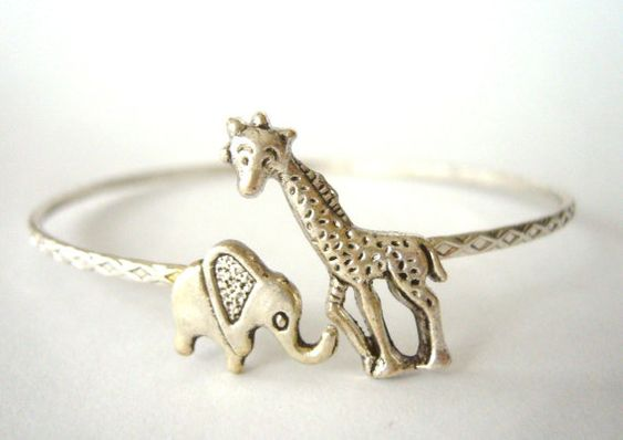 Giraffe & Elephant Bracelet. @Breane Wong ITS US!!!! <3