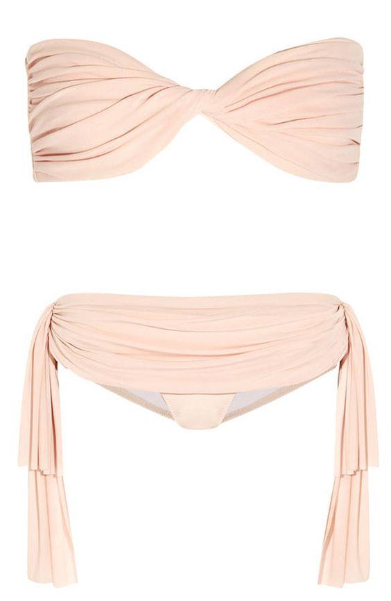 Maillot de bain bandeau deux pi ces drap rose poudr - Tissu maillot de bain ...