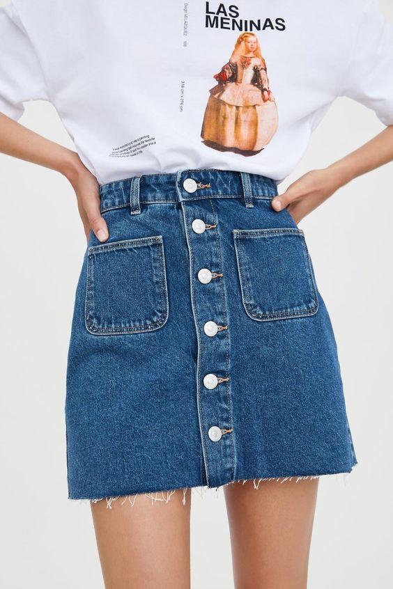MINI JUPE EN JEAN MINI JUPE EN JEAN - Mini-JUPES-FEMME | ZARA France #denim #a #line #skirt