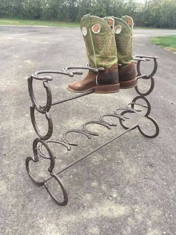 horseshoe boot rack awesome welding and boots