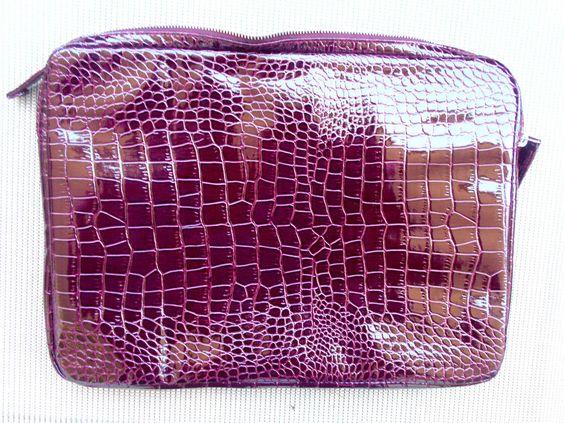 Burgundy Croc Print Faux Leather Under Arm Folder Document Holder Case 11x 15.5…