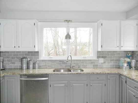 Oak Kitchen Makeover  2 toned gray and white cabinets and gray subway