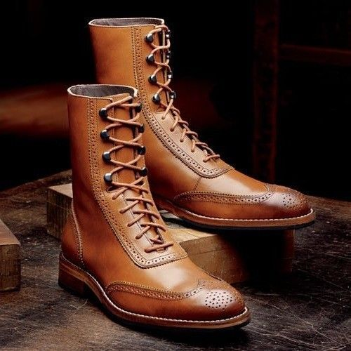 Handmade Men Tan Color Wingtip Brogue Ankle Boots Men fashion Leather Boots