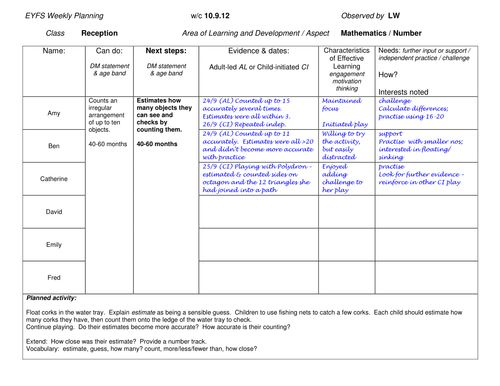For making my observations more objective-led Can be used for a - sample assessment plan