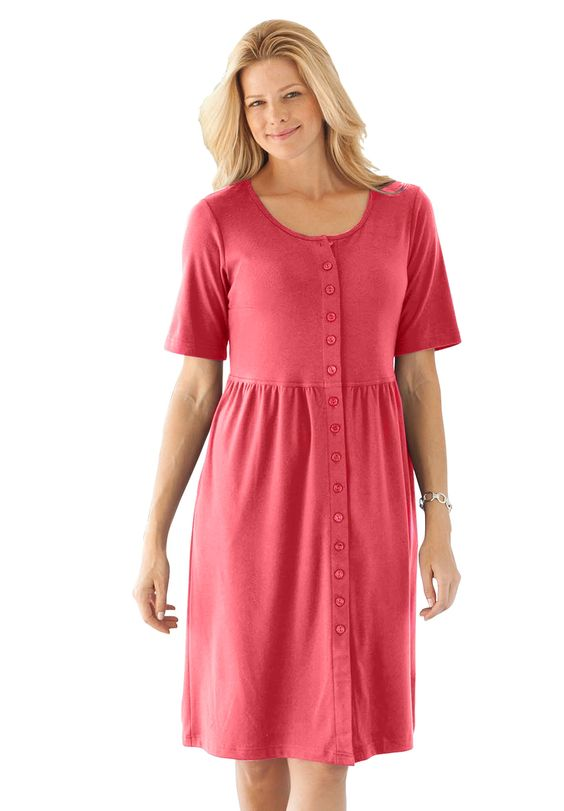 Dress with button front