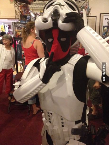 If Deadpool is a Stormtrooper, then why didn't Han Solo, Luke, Leia, and Chewy die? He wouldn't miss. Unless...Deadpool was helping them! Maybe that's why Stormtroopers always die! Deadpool is killing them undercover!