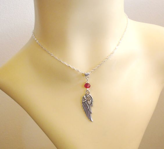 Red Crystal & Silver Rose Angel Wing Pendant Chain by TattooedRoZe