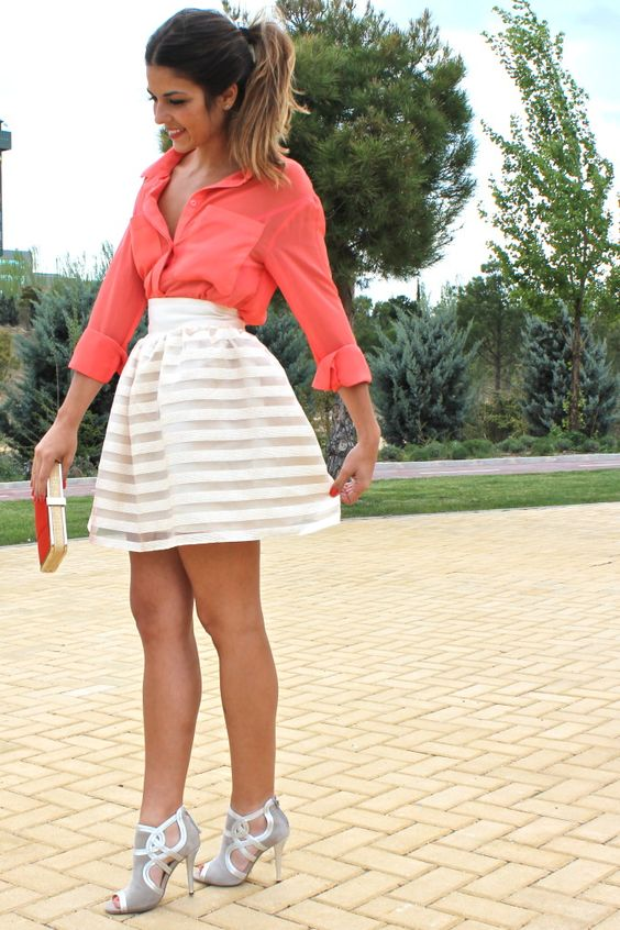 see-through layered skirt and bright blouse. love.