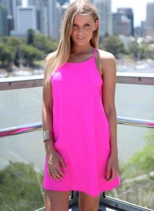 Pink Sleeveless Shift Dress Dress neon hot pink tank dress Chic ...
