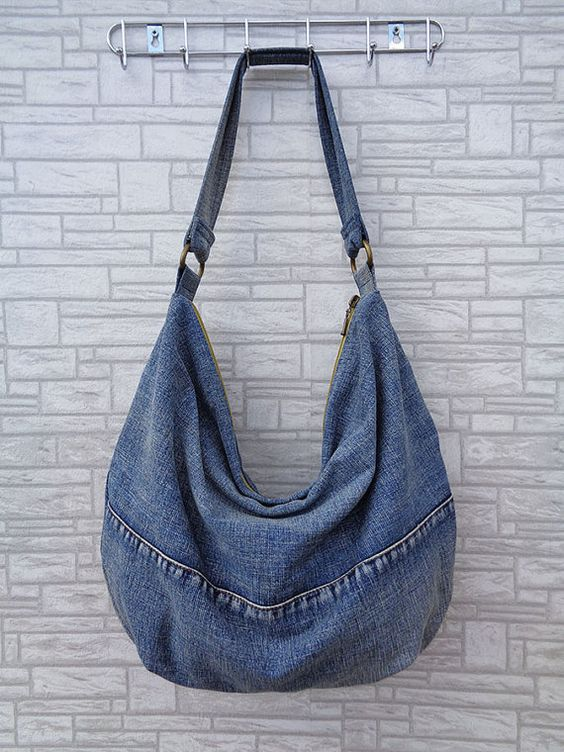 Hobo bag slouchy tote handbag purse shoulder recycled by BukiBuki: