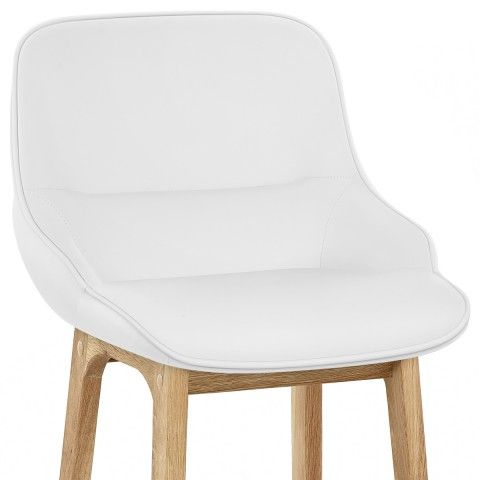 Miami Wooden Stool White Leather Atlantic Shopping Cuisine Blanche Cuisine