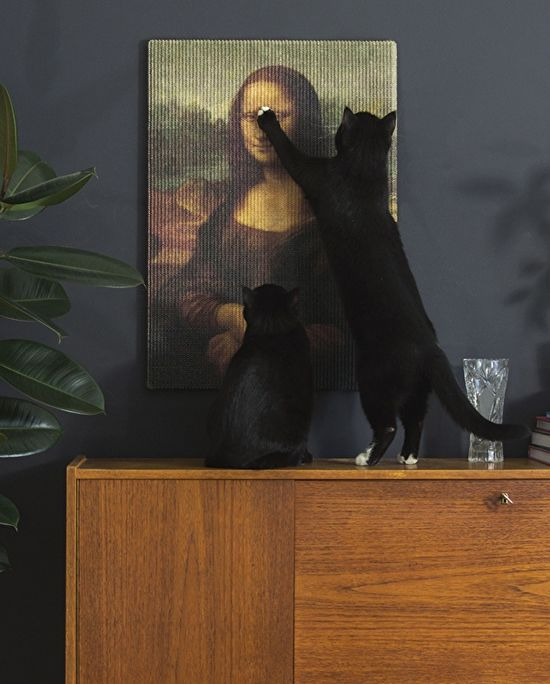 Fine Art for Kitty to Shred! • Images of classical art printed to sisal mats, and used for cat scratching pads. A find for cats, posted by Hauspanther