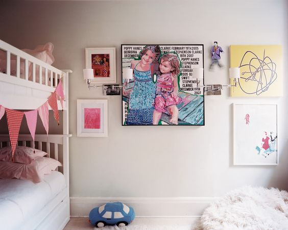 Wall Art Photo - Framed art and a white bunk bed in a children's bedroom