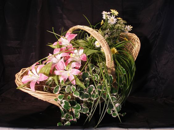 Ivy and Flower in a handle basket