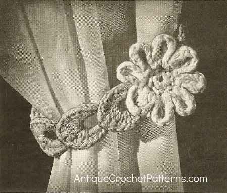 Free Crochet Pattern Flower Curtain : Crochet Home Decor Pattern - Flower Curtain Tie Back ...