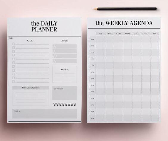 Planificateur imprimable A5 Pack, 13 Pages organisateur modernes, y compris le planificateur quotidien, planificateur de repas, l