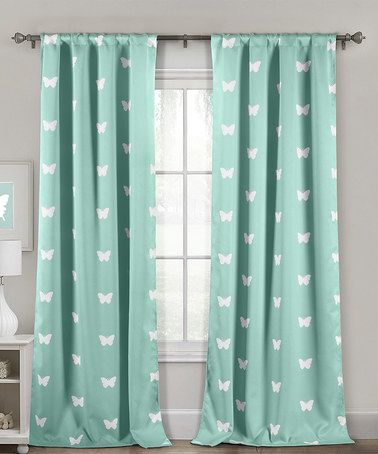 Duck River Textile Seafoam Butterfly Heavy Blackout Curtain Panel ...