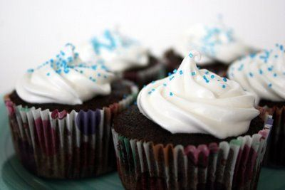 Devil's Food Cupcakes with Fluffy Frosting  