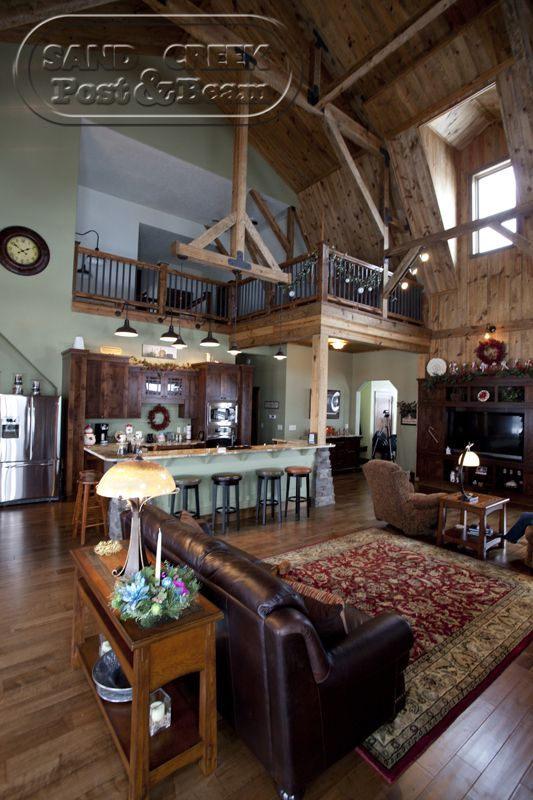Barn home sand creek post beam maybe i can dream for Post and beam living room ideas