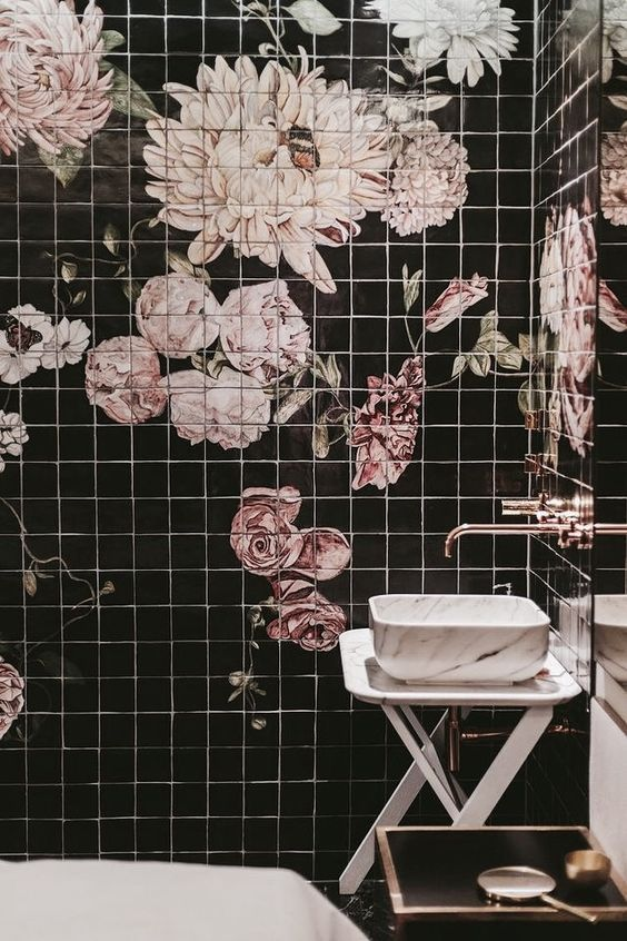 There Are Many Bathroom Tiles That You Can Use A Good Tile Is One That Is Not Simple To Slip On The Feet Bathroomfloo Floral Tiles Decorative Tile Home Deco Bathroom tile over wallpaper