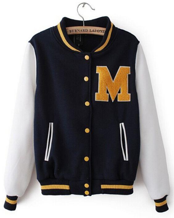 Yellow Fleece Letter M Navy White Baseball Jacket for Women.jpg