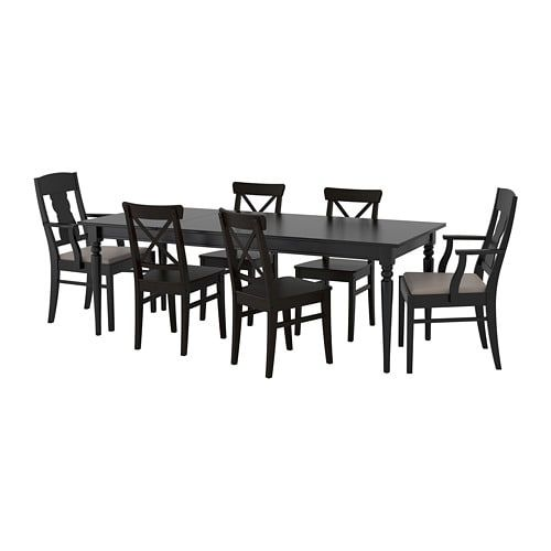 Ikea Ingatorp Ingolf Table And 6 Chairs Black Nolhaga Grey Beige 155 215 Cm Extendable Dining Table With 1 Extra L At Home Furniture Store Painted Seating Ikea