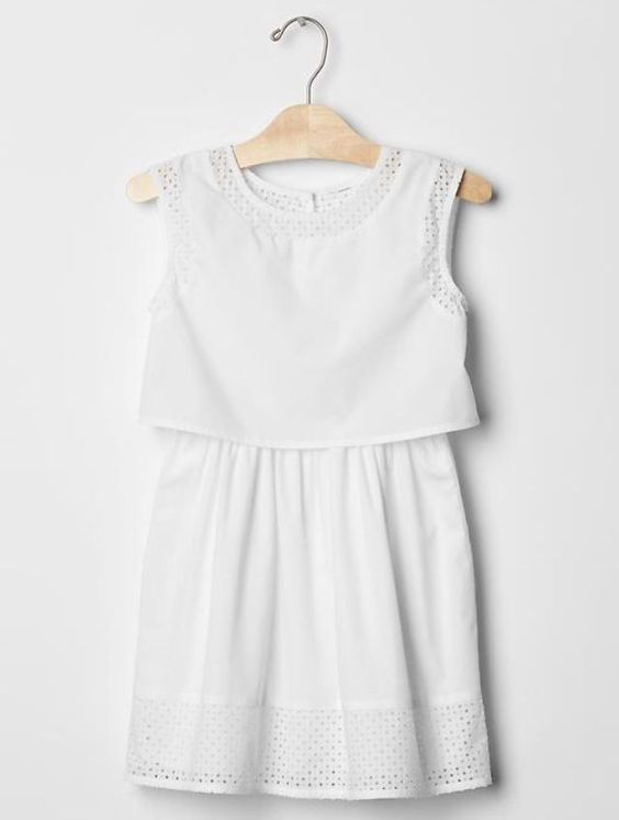 Gap Diamond Eyelet Two Tier Dress size L girls (White, 100% cotton, Knee length) #GapKids #EverydayWedding