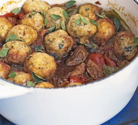 Pork goulash with herby dumplings. Goulash makes a great freezer standby - just the job when you're pushed for time, but want the comfort of a stew