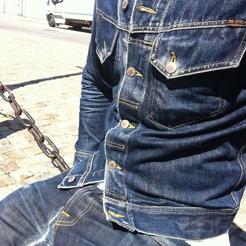 youwesixeight:  Per and his beloved Conny Dry jacket (8 yrs old) and Grim Tim Dry Orange Selvage jeans. Good job, huh? #nudiejeans #nofilter...