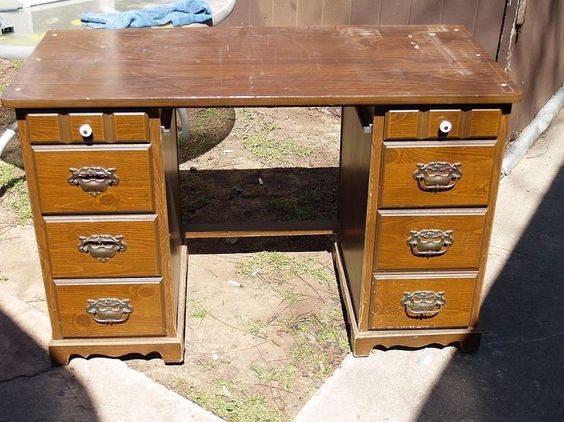Repurpose and Recycle of Desk into two night stand dressers.. Love it  open to see the before and after pictures..