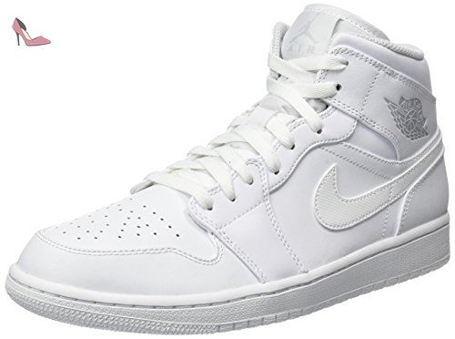 Nike Air Jordan 1 Mid, Chaussures de Basketball Homme, Blanc Cassé ...