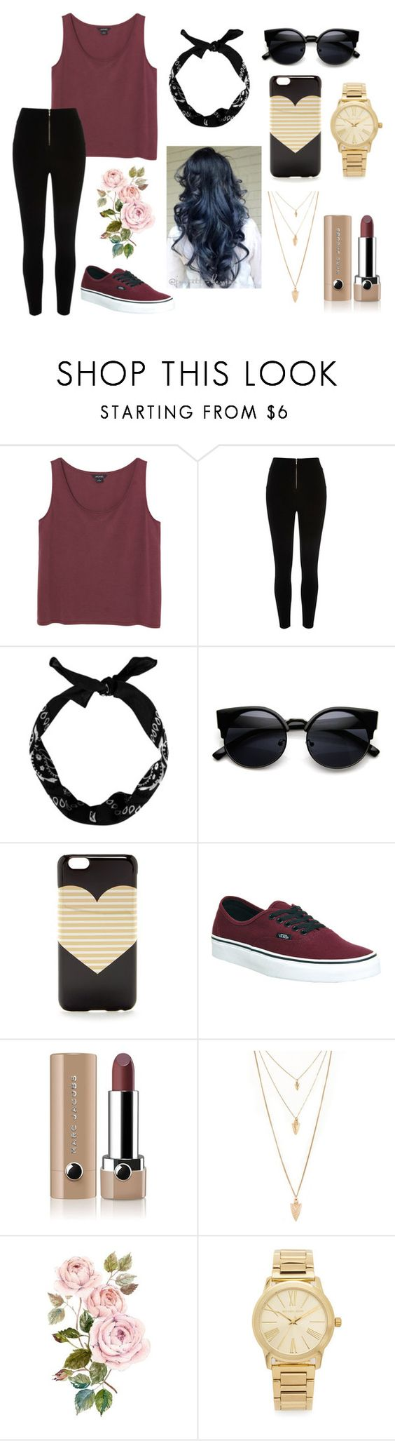 """different but stylish"" by sighlxly ❤ liked on Polyvore featuring beauty, Monki, J.Crew, Vans, Marc Jacobs, Forever 21 and Michael Kors"