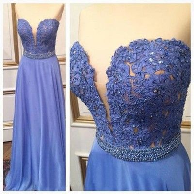 Retty blue lace strapless sweetheart long a-line prom dress,xp164