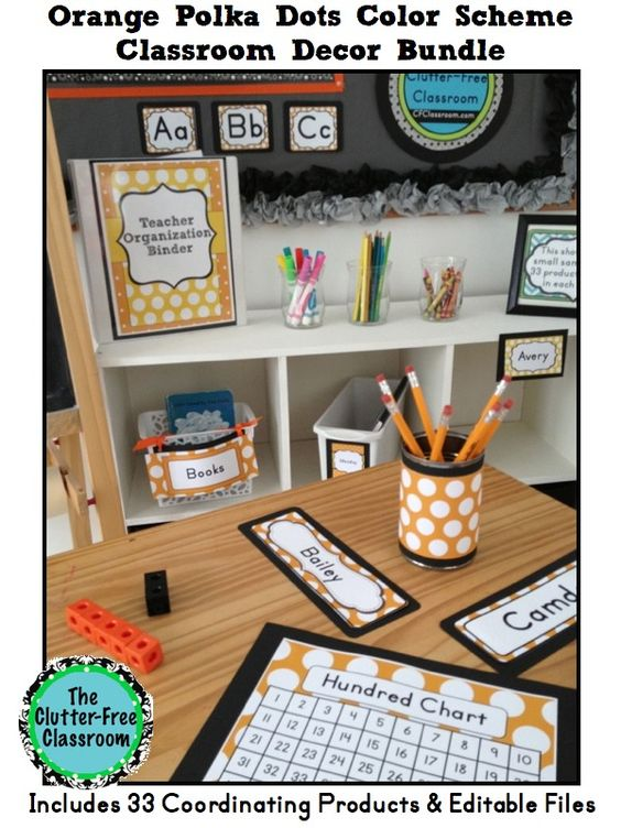 Orange Classroom Decor ~ Binder decoration polka dot classroom and schedule cards