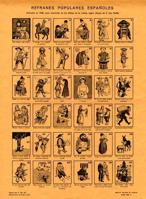REFRANES POPULARES ESPAÑOLES. Utilizados en 1969 como ilustración de los billetes de la Lotería, según dibujos de S. Rey Padilla.