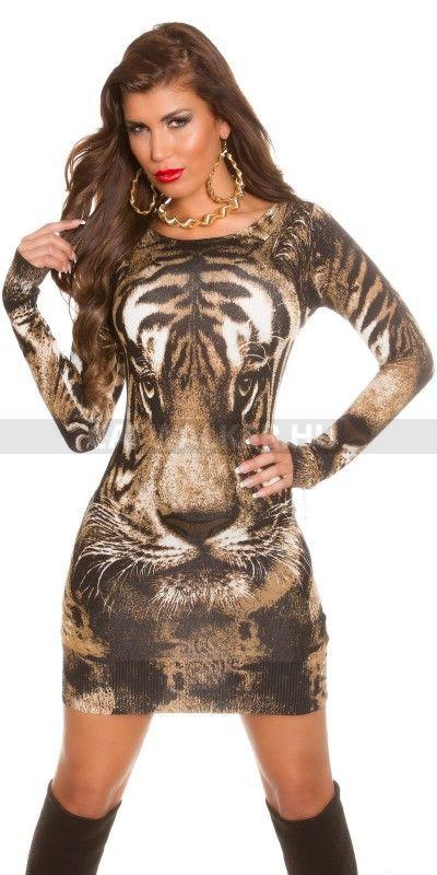 Kötött ruha ISF8707 tigrisfejes - barnás