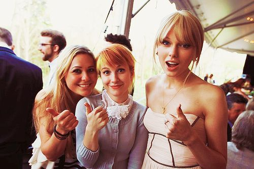 Taylor Swift and Hayley Williams at Josh Farro's wedding. Wishing I was them...